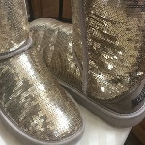 Ugg gold sequined boots